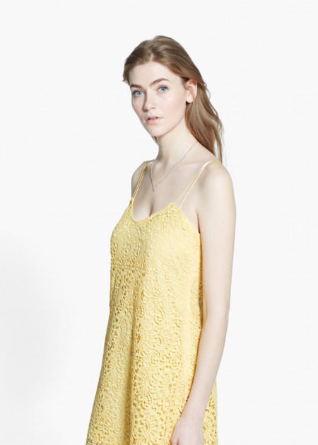 Vestido Guipur Amarillo Mango
