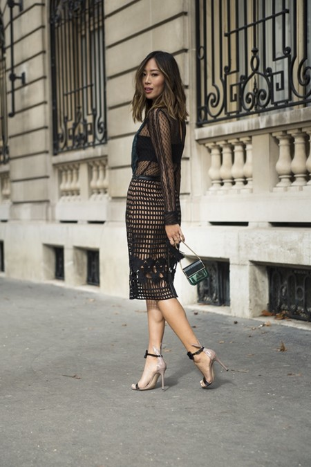 Aimee Song Of Style Self Portrat Lace Top Greylin Skirt Gianvito Rossi Bow Heels Marc Jacobs Decadence Perfume