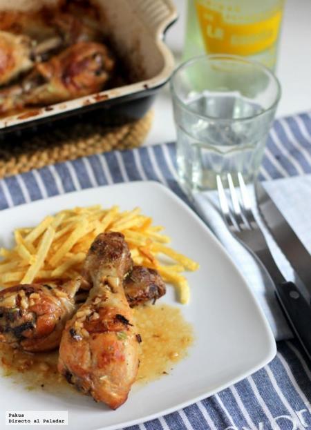 Muslos de pollo en salsa de limón y vino