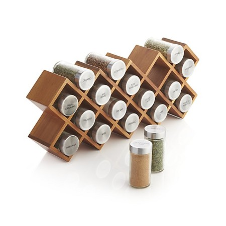 18 Jar Acacia Spice Rack