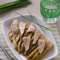 Ensalada templada de endivias braseadas con ventresca. Receta