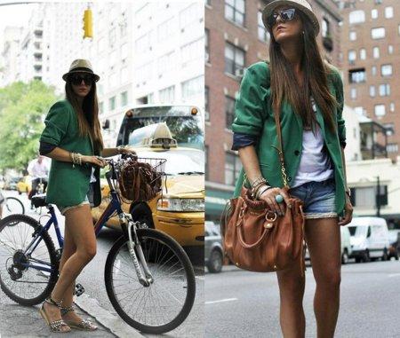 Verde chaqueta abrigo Moda en la calle