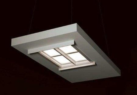 Una lámpara con forma de ventana