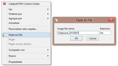 Crea un archivo con el contenido del portapapeles con PasteAsFile