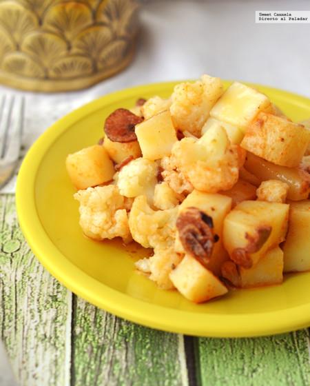Coliflor y papas con aceite de ajo. Receta