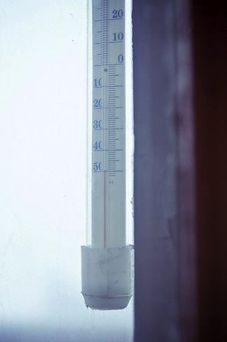 Minus 50 degrees Celcius. Thermometer
