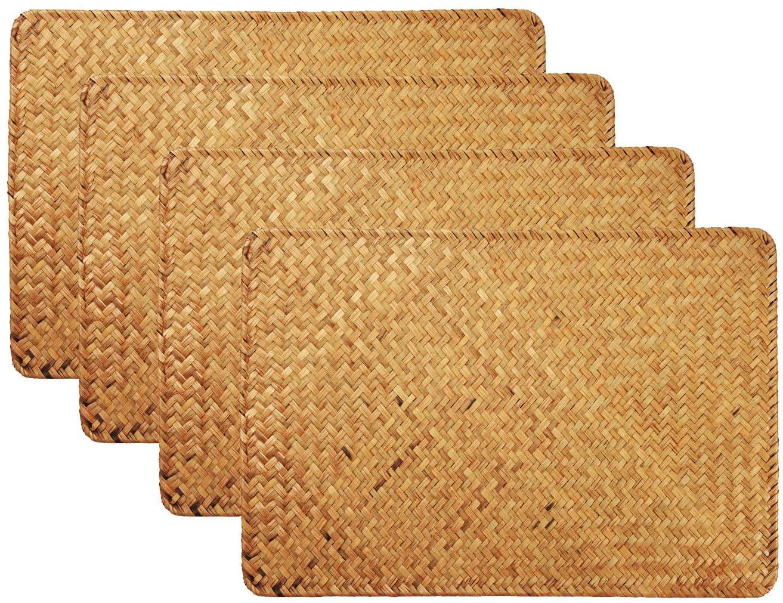 Mantel Individual de Rota, Estera de Tabla de Mimbre Pastos Marinos, Rectangular (4 Piezas)