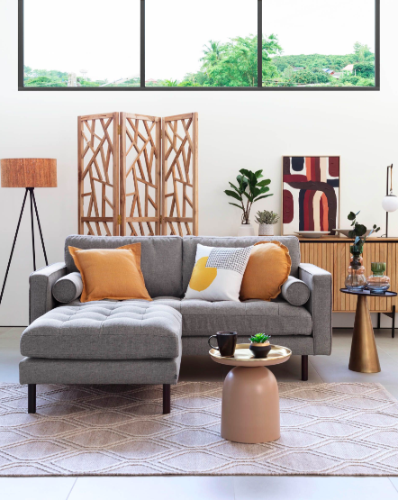 Sofa Debra 2 Plazas Con Reposapies Gris Claro