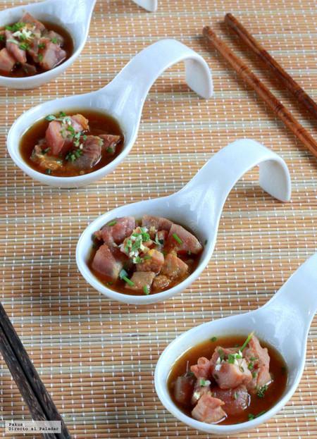 Atún al sésamo con salsa Ponzu casera, receta de aperitivo
