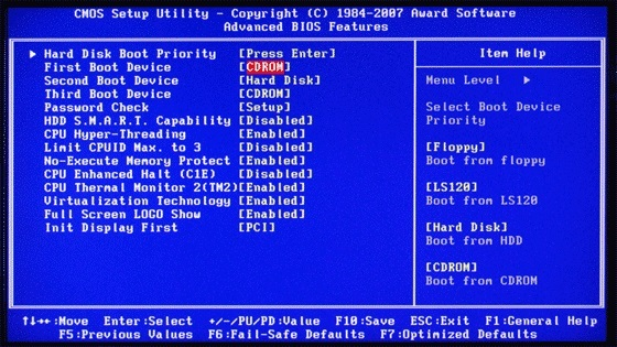 Bios boot priority