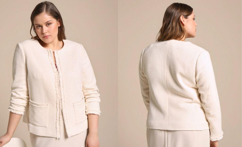 Chaqueta tweed de mujer talla grande en color blanco