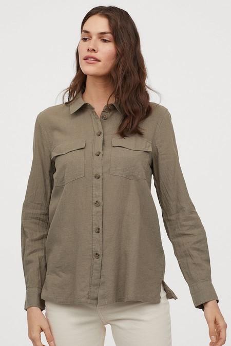 Camisa en mezcla de lino