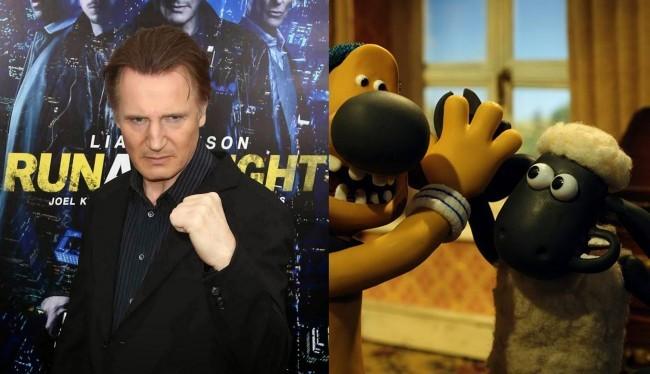 Liam Neeson y la oveja Shaun