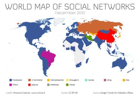 Otro mapamundi de redes sociales: Facebook sigue siendo líder indiscutible