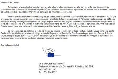 El PP descalifica la Declaración contra ACTA y apoya otra que promueve la retención de datos