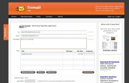 Filemail, enviando hasta 2 GB de archivos a nuestros destinatarios