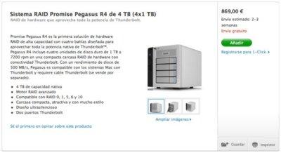 Promise Pegasus R4 y R6, los primeros sistemas RAID con Thunderbolt ya la venta en la Apple Store