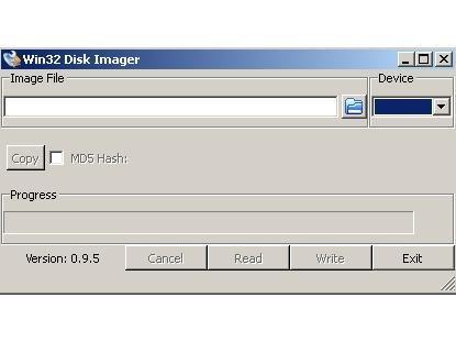 Esta es la pantalla de Win32 Disk Imager