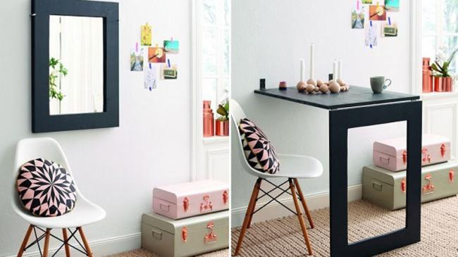 Decoesfera hazlo t mismo una mesa espejo ideal para for Mesas espacios pequenos