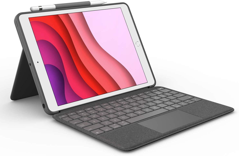 Logitech Funda con teclado Combo Touch para iPad 7a generación, con trackpad, teclado inalámbrico y tecnología Smart Connector, grafito