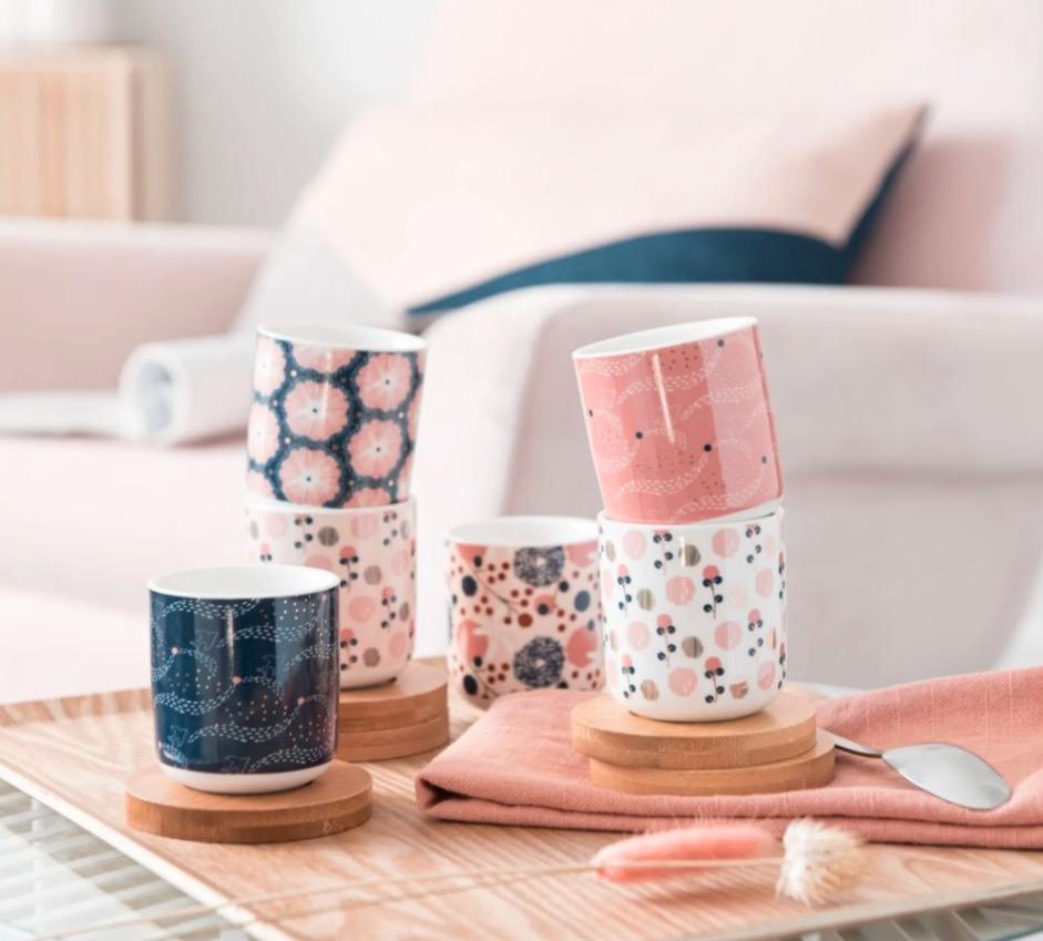 Juego de 6 tazas de porcelana con motivos decorativos con platillos de bambú
