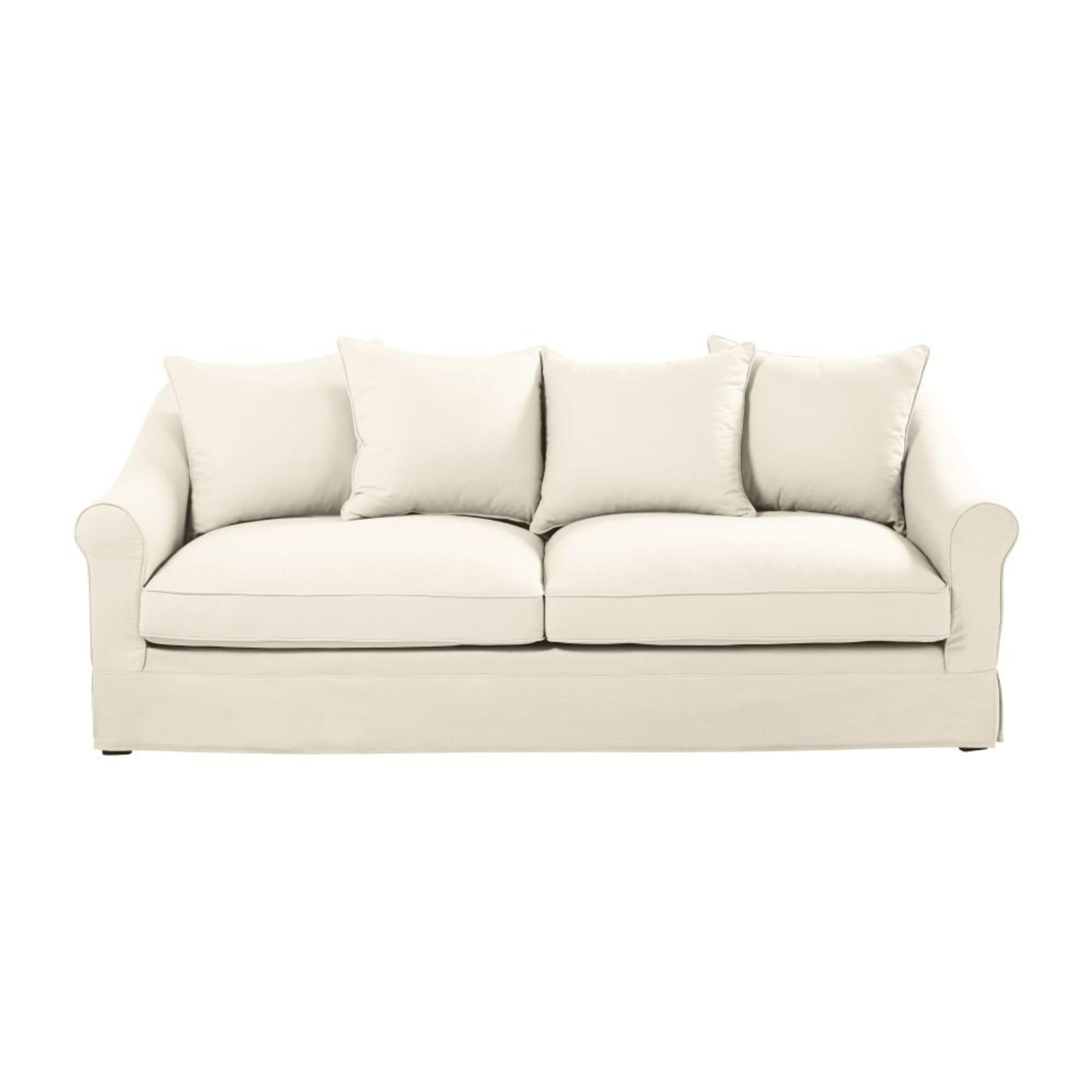 JOANNE - Sofá cama de 3/4 plazas de algodón color marfil