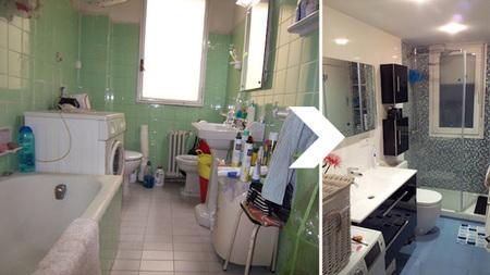 Distribución baño - antes y después