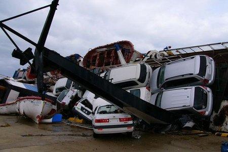 Barco semihundido en Rusia
