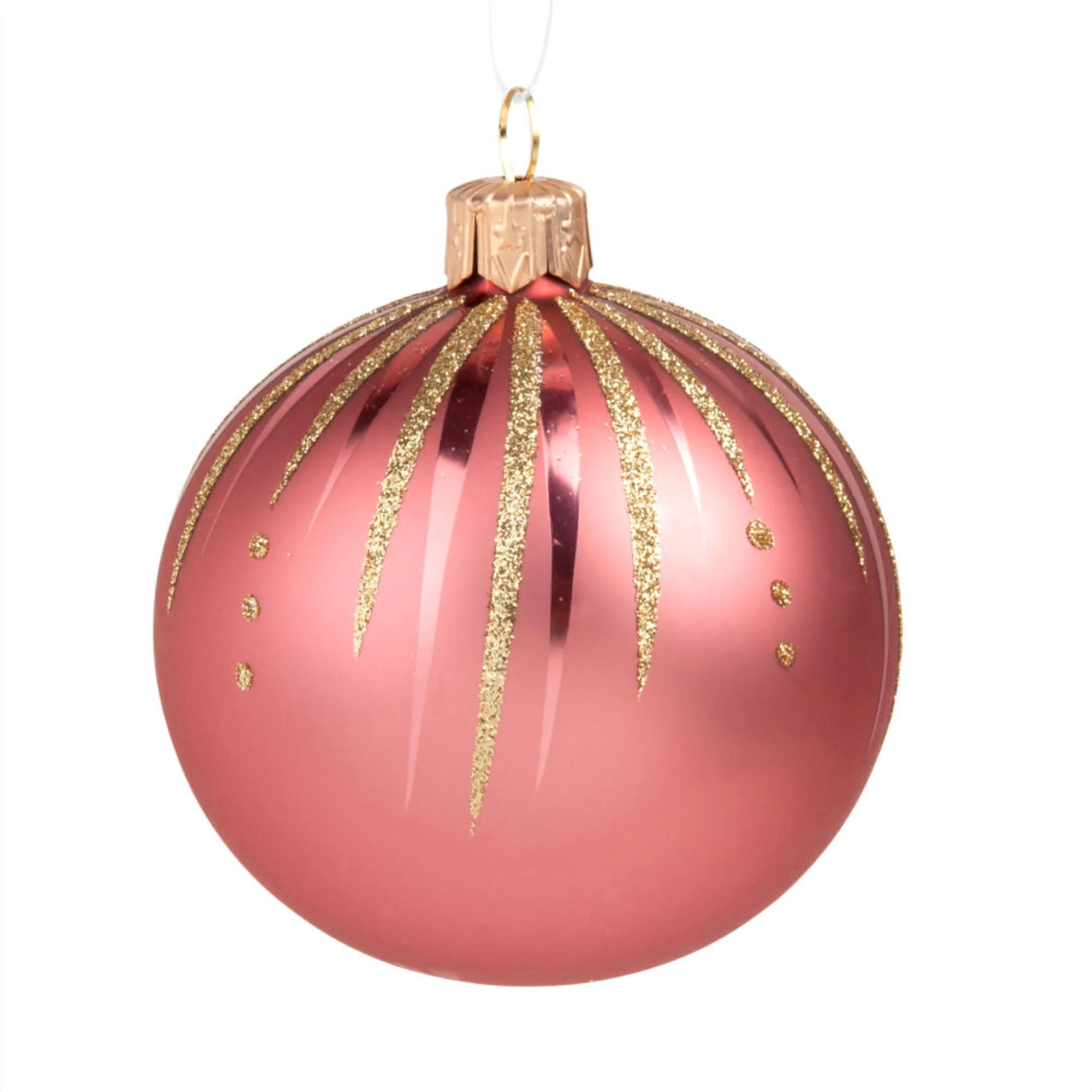 Bola de Navidad de cristal rosa y dorado - Lote de 6