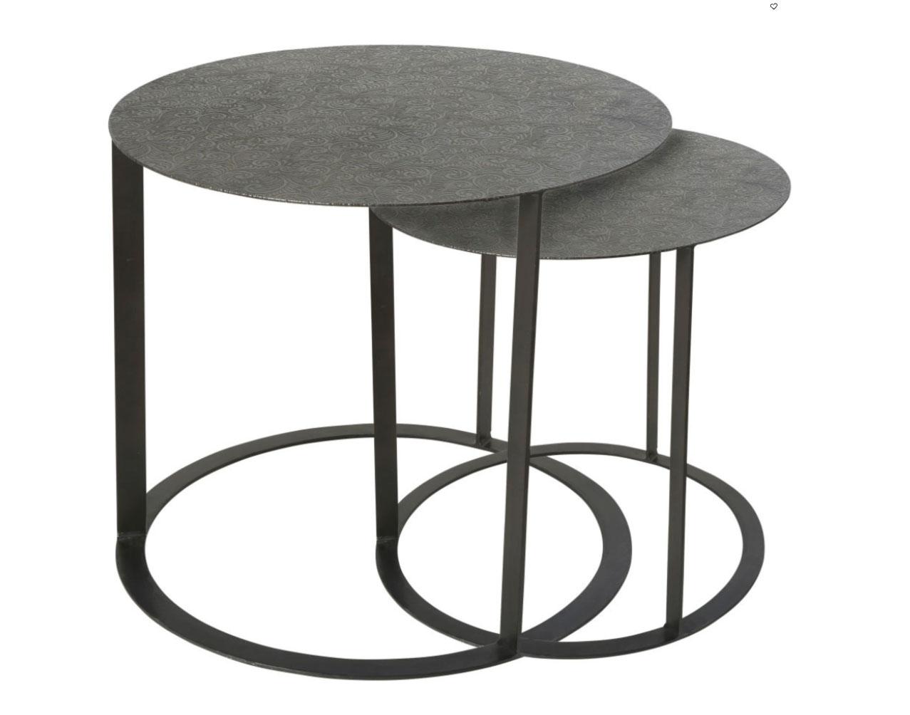SALMA- 2 mesas auxiliar de metal tallado negro