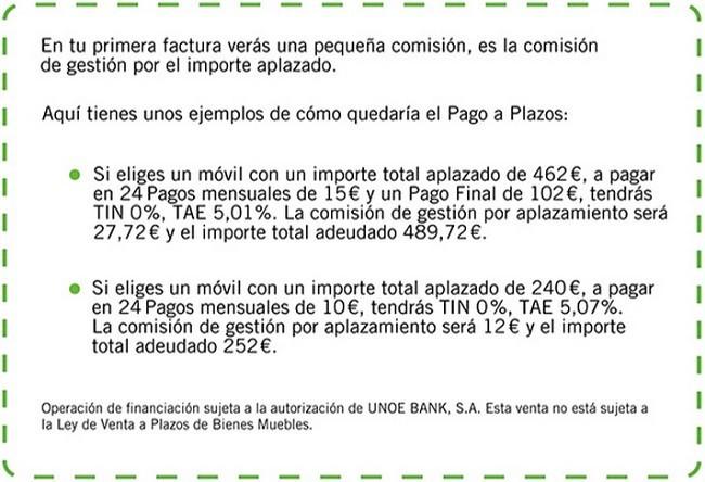 Comisión pago a plazos Yoigo marzo 2014