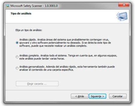 Microsoft Safety Scanner: Tres tipos diferentes de análisis