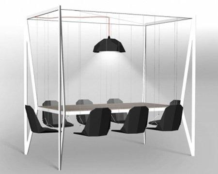 Swing table, una mesa con ocho columpios