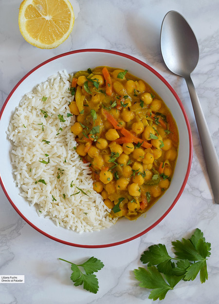curry de garbanzos y mango