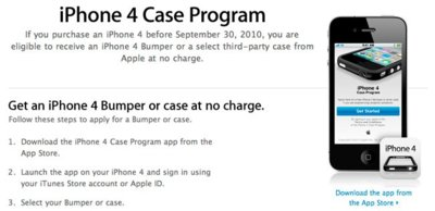 iPhone 4 Case Program, Apple lanza una aplicación para solicitar los Bumpers gratis