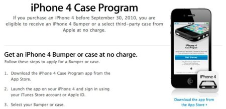 iPhone 4 Case Program, Apple lanza una aplicación para solicitar los Bumpers gratis