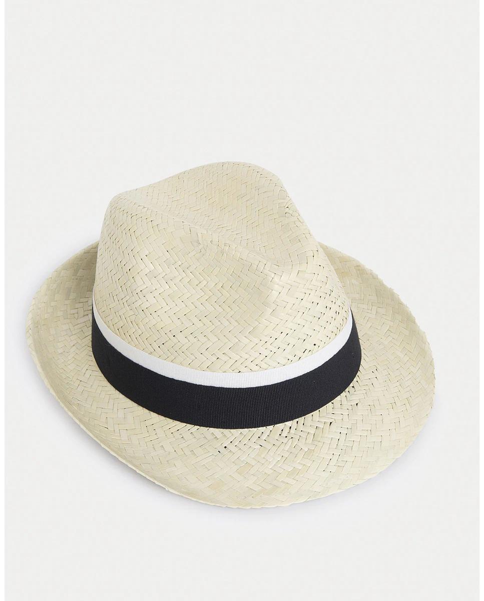 Sombrero de hombre Hackett en tejido de espiga color blanco