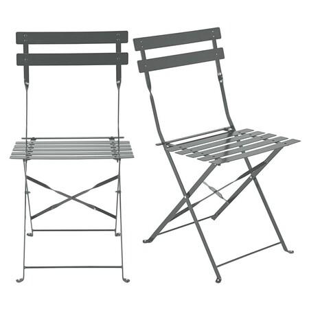 2 sillas plegables de jardín de metal epoxi gris Alt.80