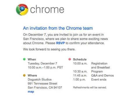 Google convoca a la prensa para un evento relacionado con Chrome el próximo 7 de diciembre