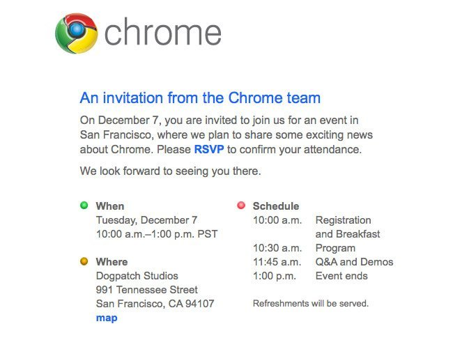 google chrome invitacion evento keynote