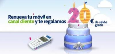 Movistar regala 20 euros de saldo al renovar el móvil en su web
