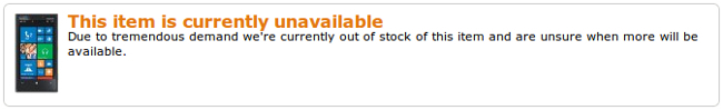 Amazon sin stock de Lumia 920