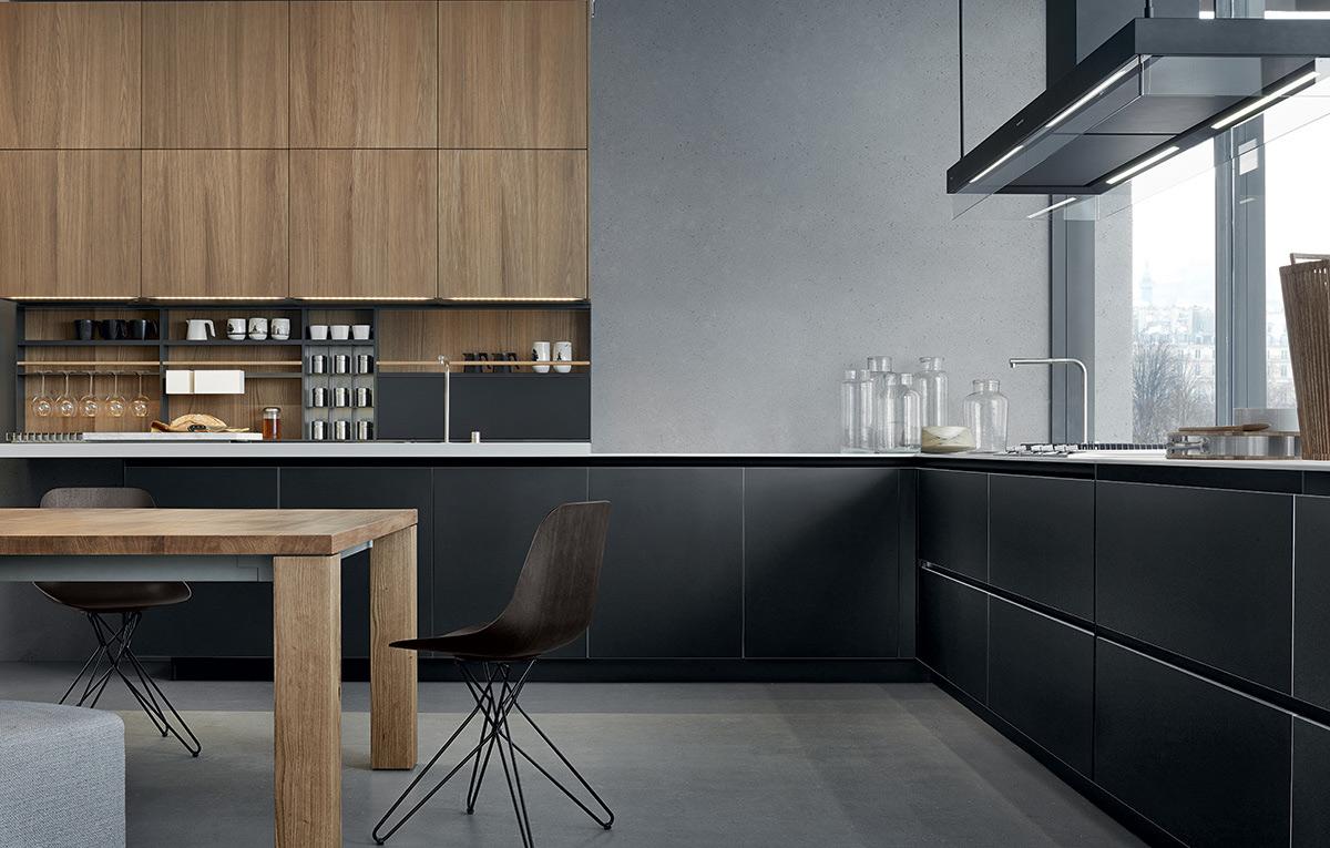 Madera y negro en la cocina 18 ideas para una combinaci n - Cocinas modernas valencia ...