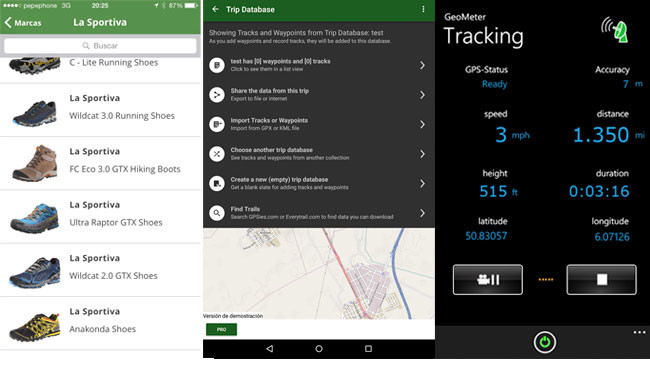 MapMyHike para iOS, Background Navigator para Android y Geometer para Windows Phone