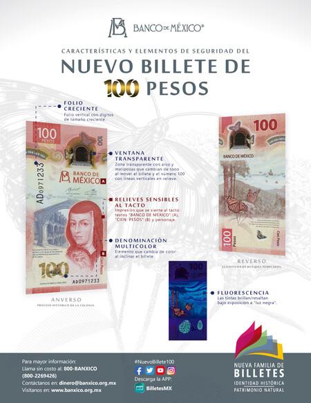 Nuevo Billete 100 Pesos Sor Juana Ines Primero Diseno Vertical