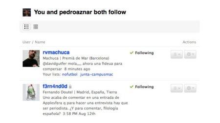 Dos nuevos elementos más en Twitter: TLists y followings comunes