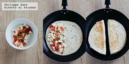 Quesadillas de chorizo con mozzarella y jalapeños.  Receta de comida mexicana fusión para cualquier ocasión
