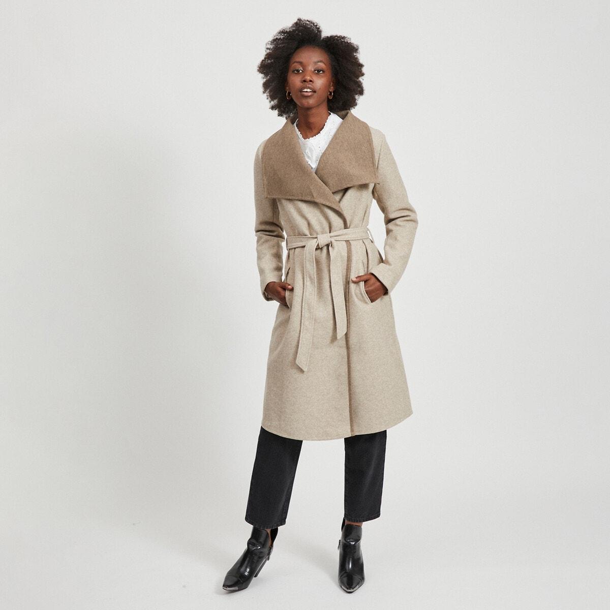 Abrigo largo para anudar, cuello esmoquin