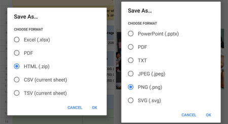 Google Sheets y Slides añaden soporte para exportar en más formatos