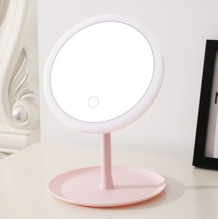 Espejo De Maquillaje Plegable Con Luz De Aumento
